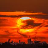 Coucher de soleil caché par les nuages, juillet 2014